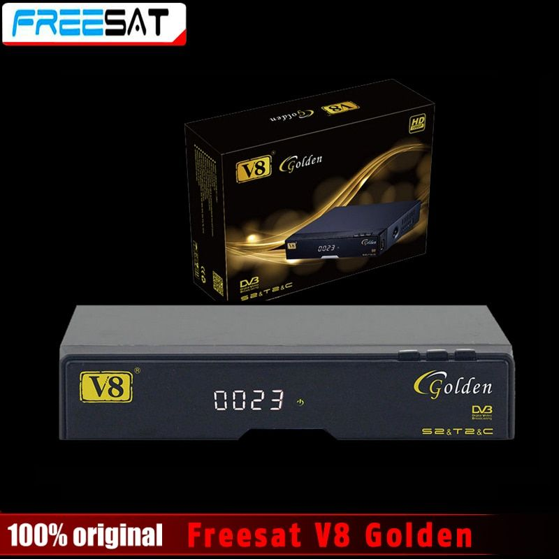 Genuine Freesat V8 <font><b>Golden</b></font> & USB Wifi DVB-S2 + T2 +C Satellite TV Combo Receiver Support PowerVu Biss Key Cccamd Newcamd USB Wifi