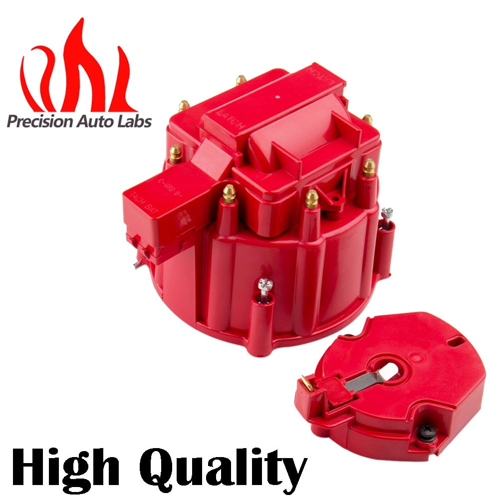 PRECISION AUTO LABS Red Male HEI Distributor Cap & Rotor Performance Replacement SBC BBC 305 350 454