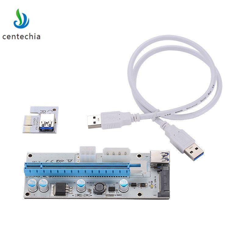 008 Unid PCIe pci-e tarjeta Express Riser 1x a 16x USB3.0 cable de datos SATA a 4Pin IDE Molex fuente de alimentación para la máquina del minero de BTC ghmy