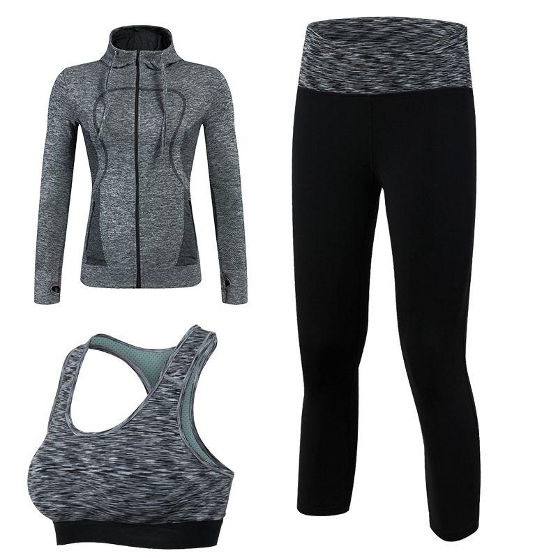 Новое поступление быстросохнущая Тренировки Спортивный костюм Для женщин 3 шт. Костюм для занятия йогой (куртка + брюки + бюстгальтер) спорти...