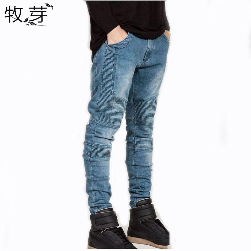 2016 Mens Skinny jeans hombres Runway Apenada jeans elásticos delgados pantalones Washed denim jeans Motorista hiphop vaqueros negros para los hombres