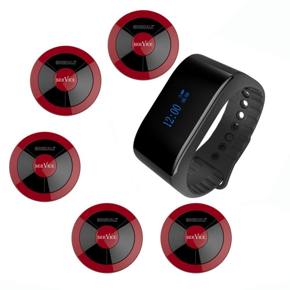SINGCALL pager système d'appel 1 APE6900 nouveau récepteur étanche et 5 boutons d'appel de service pour lieu de divertissement de restaurant