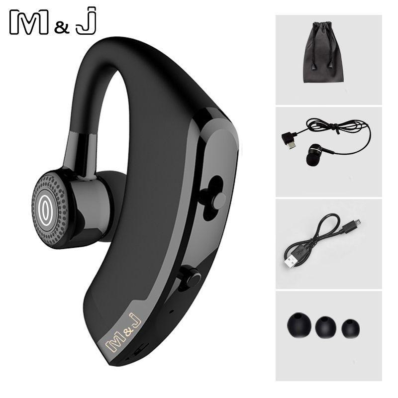 M & J V9 Mains Libres Bluetooth D'affaires Casque Avec Micro Contrôle Vocal Sans Fil Bluetooth Casque Pour Lecteur Antibruit