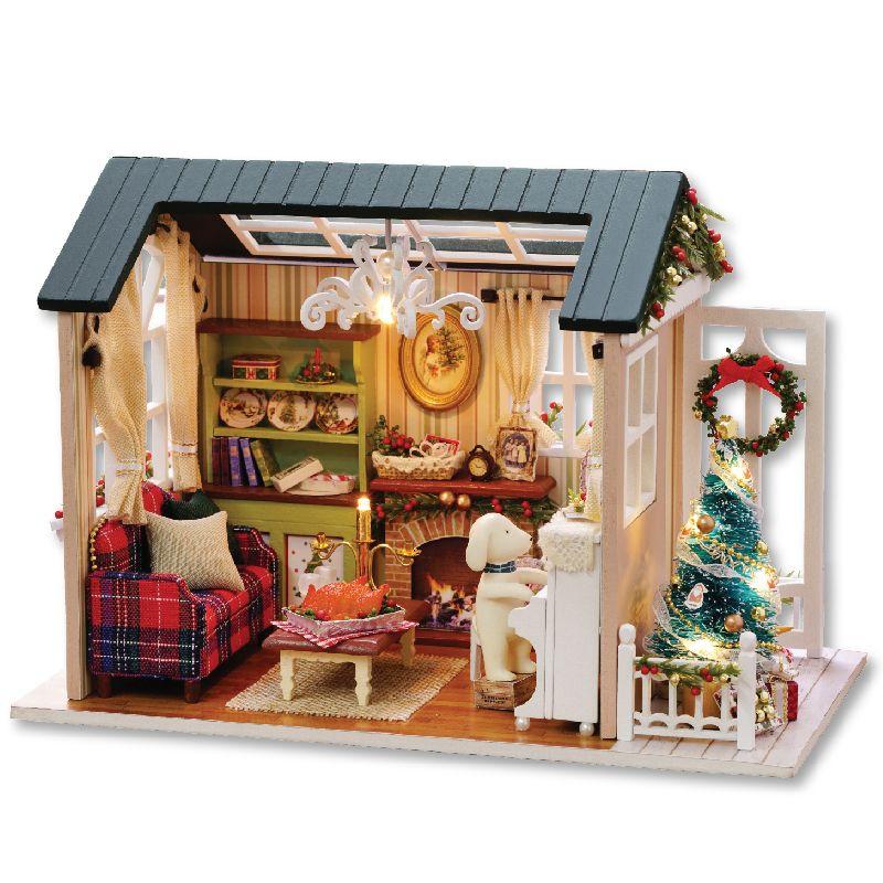 CUTEBEE maison de poupée maison de poupée miniature à monter soi-même avec meubles en bois maison jouets pour enfants vacances temps Z009