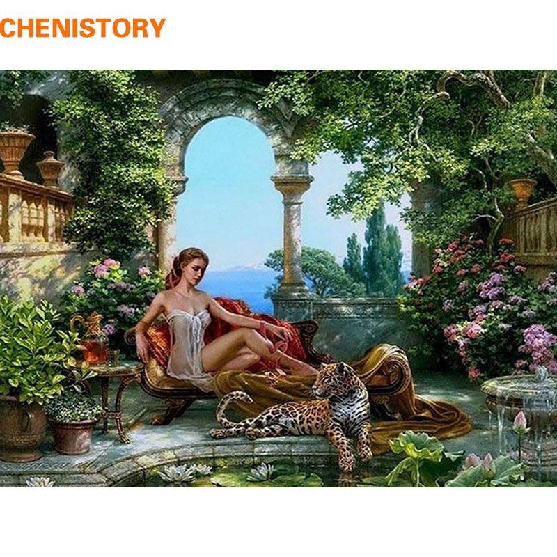 Rahmenlose tiger und sex mädchen diy malerei by zahlinstallationssätze acrylmalerei auf leinwand handgemaltes home decor bild artwork