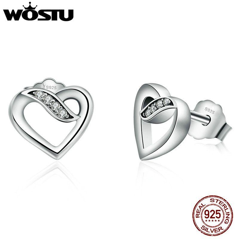 Wostu Лидер продаж 925 серебро Ленты любви Серьги-гвоздики для Для женщин подлинный оригинальный бренд Ювелирные украшения xchs496