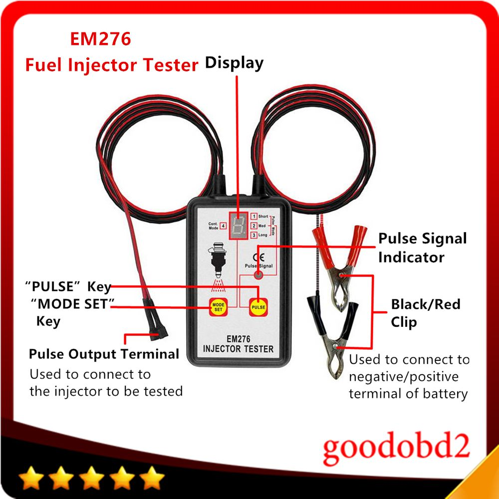Fuel Pressure Tester EM276 Injector Tester Fuel Injector 4 Pluse Modes Tester Powerful Fuel Pump System Diagnostics Analyzer
