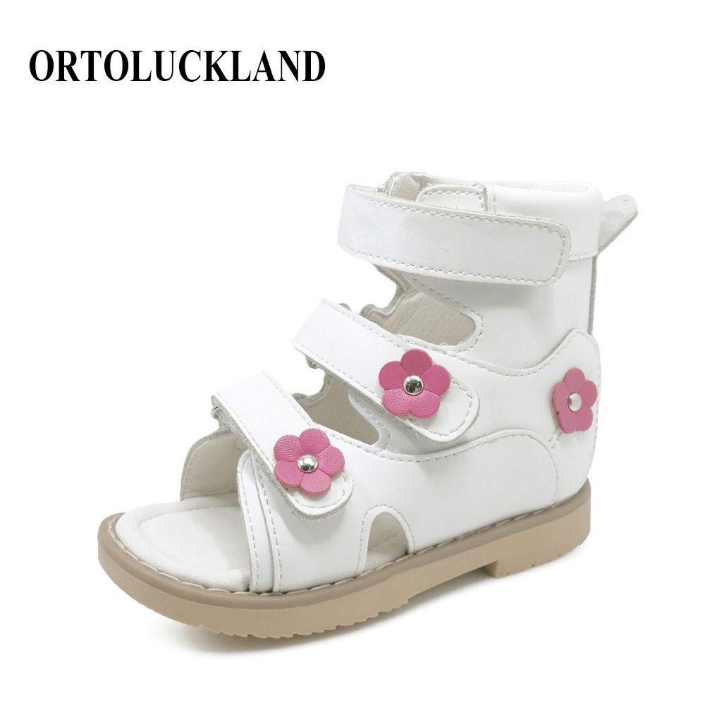 Blume Einfache Schöne Kinder Mädchen Weiß Echtes Leder Flache Fuß Schuhe Kleinkind Schuhe Kinder Orthopädische Sandalen Für Mädchen