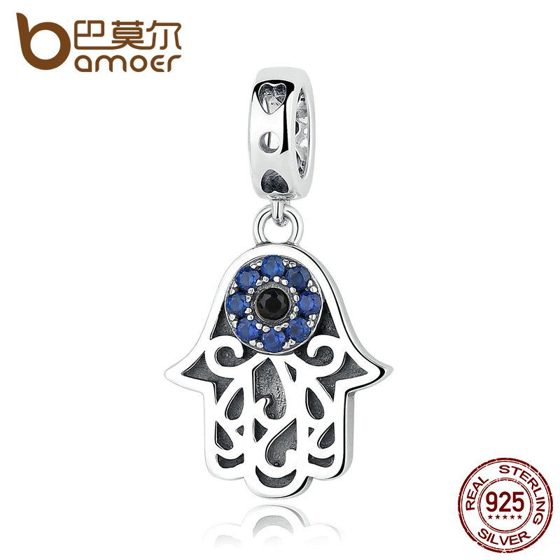 BAMOER Eye Design Series 100% 925 Sterling Silver Blue Wicked Eye Pendant Fit Bracelets & Bangles Fashion Jewelry SCC085