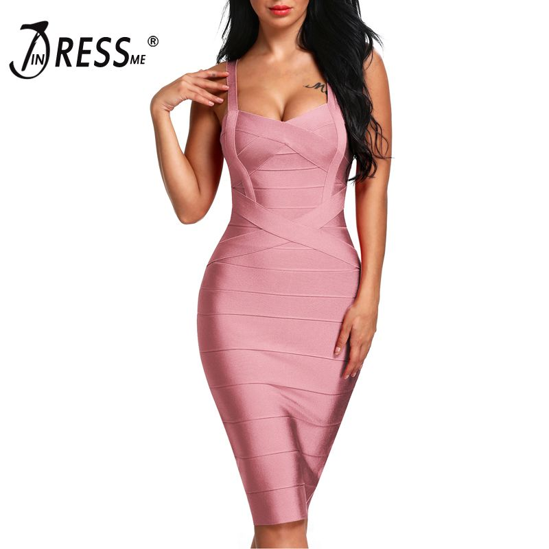 INDRESSME 2018 Women's Midi Bandage Dress Sexy Spaghetti Strap Bodycon Club Party Dresses Vestidos Wholesale