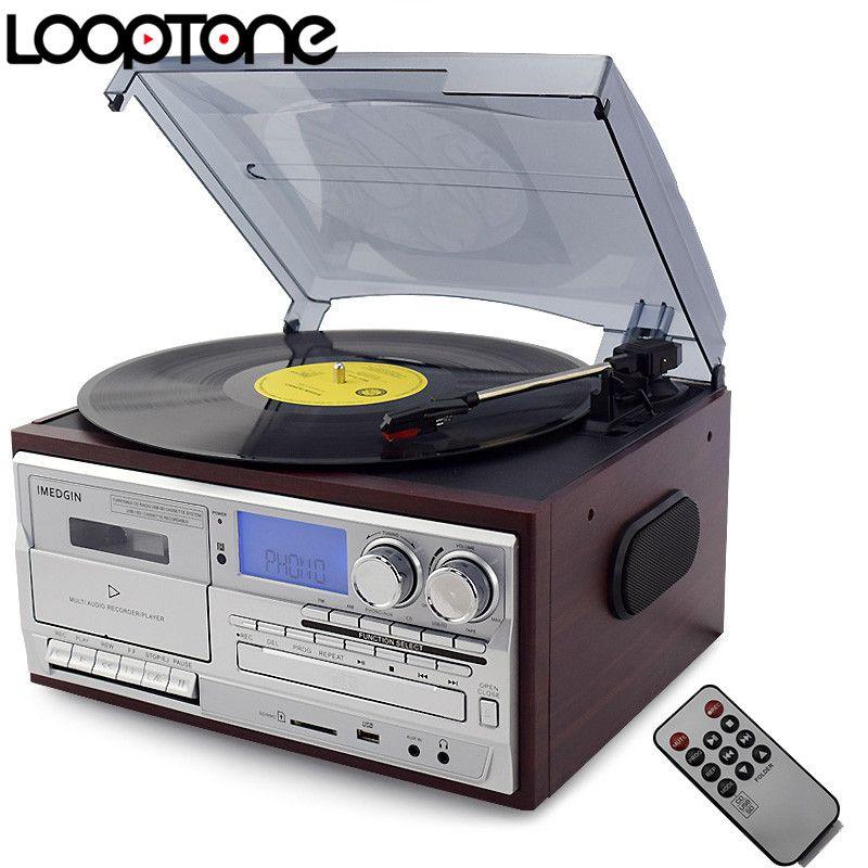 LoopTone 3 Vitesse Vinyle tourne-Disque Platine W/CD et Lecteur Cassette AM/FM Radio USB/SD enregistreur Aux-In RCA Line-out