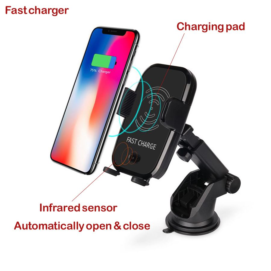 Car Mount Qi Wireless Charger For iPhone X 8 Plus Quick Fast Charge Wireless Charging Pad Car Holder Stand for Samsung S9 S8 S7