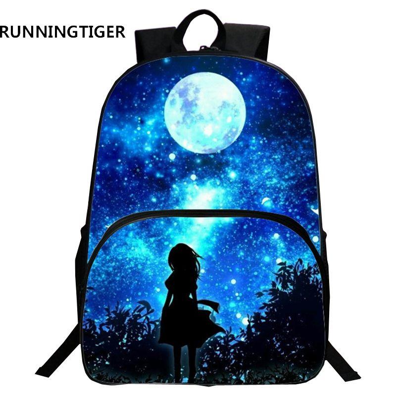 Runningtiger детей Школьные ранцы Galaxy Вселенная/пространство 24 Цвета печати рюкзак для teeange Обувь для девочек Обувь для мальчиков Star школа Сумки