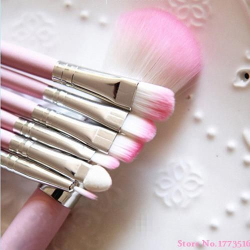 The Latest 7Pcs Pro Pink Makeup Brush Set Eyeshadow Cosmetic Tools Eye Face Beauty Brushes 6WQ7