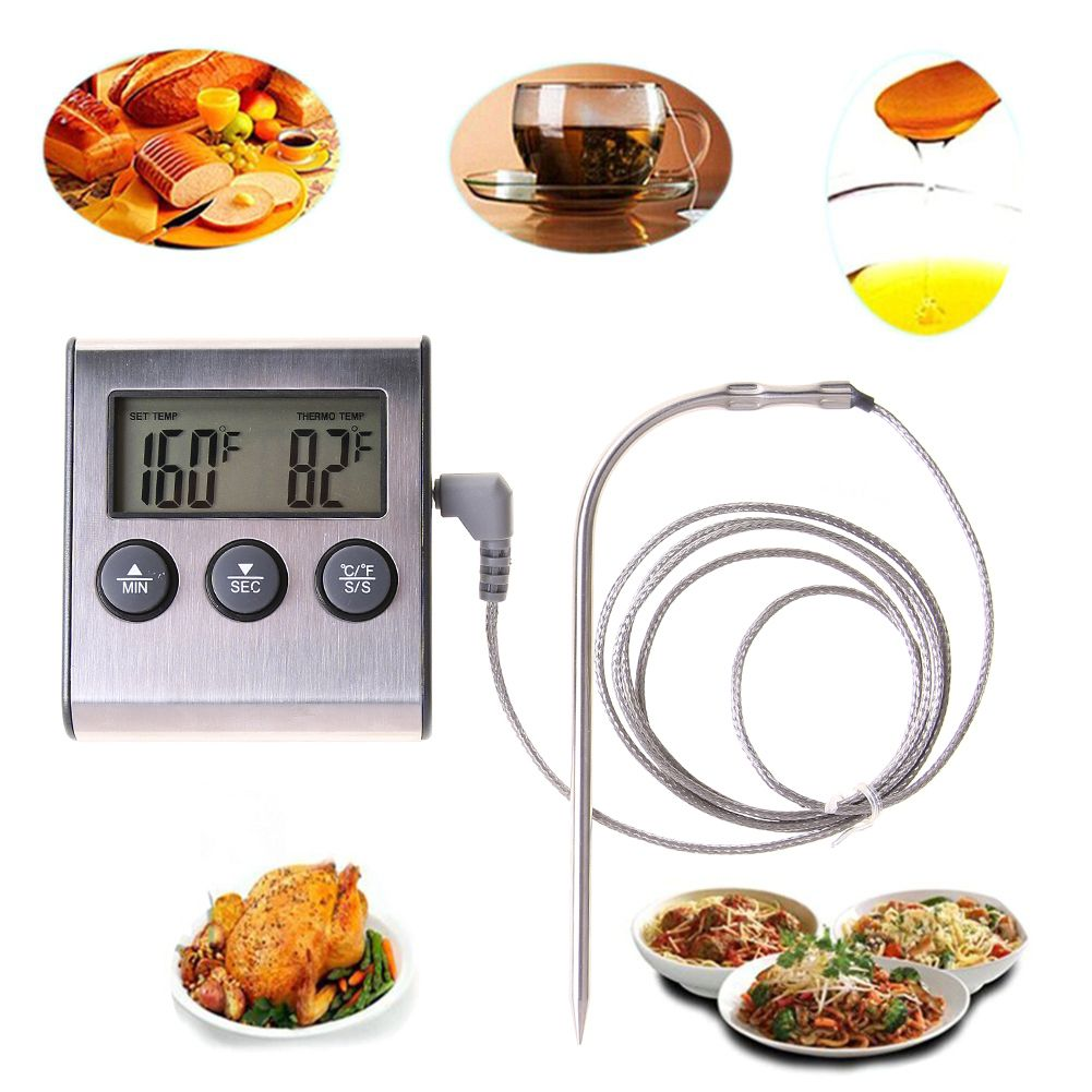Rushed Digital Thermometer for Oven Digital Lcd Display Probe Food Thermometer Timer Cooking Kitchen BBQ Meat