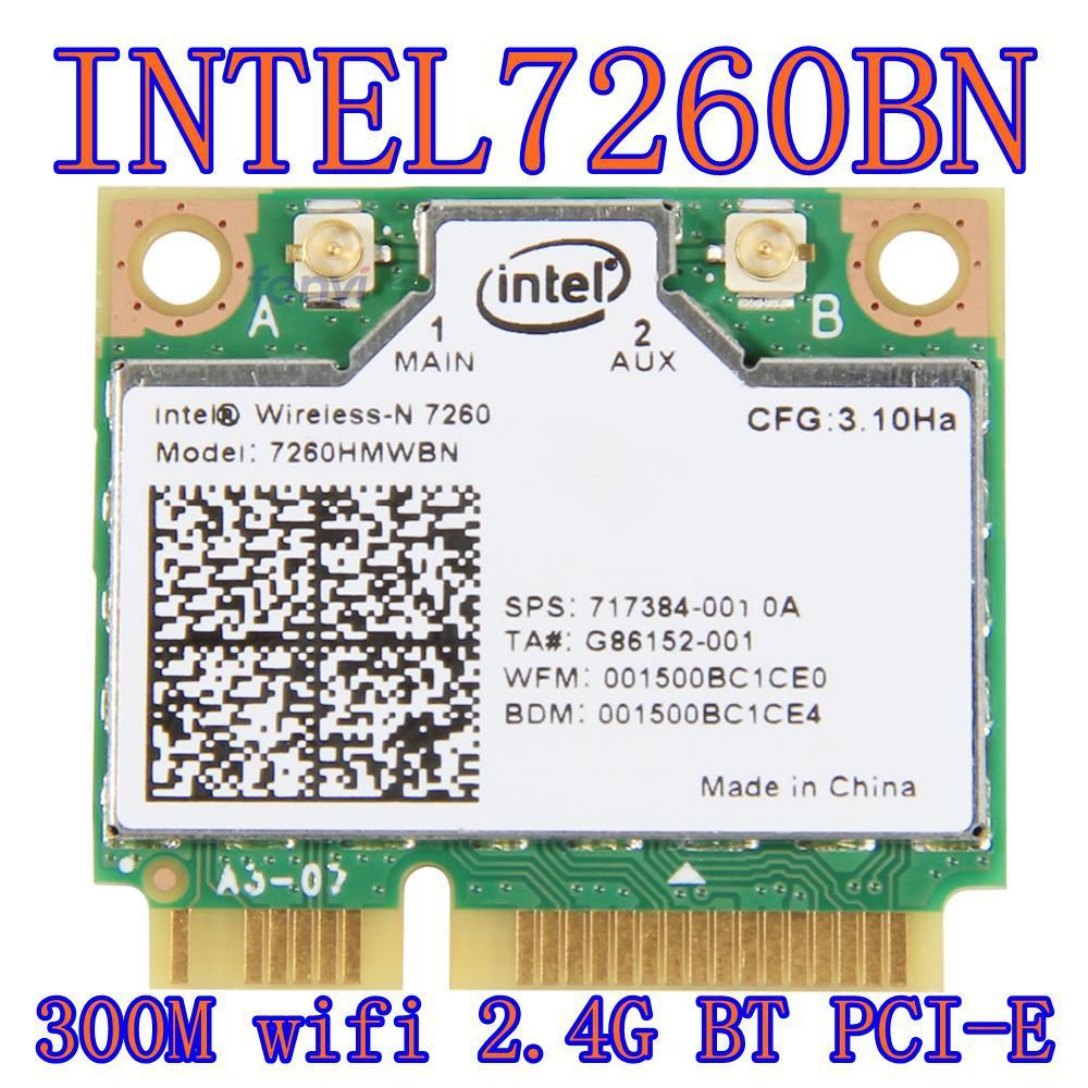 Intel wireless-n 7260 7260hmw Bn demi Mini Pci-e Bluetooth Bt carte Wifi sans fil 802.11 B G n 2.4 GHz