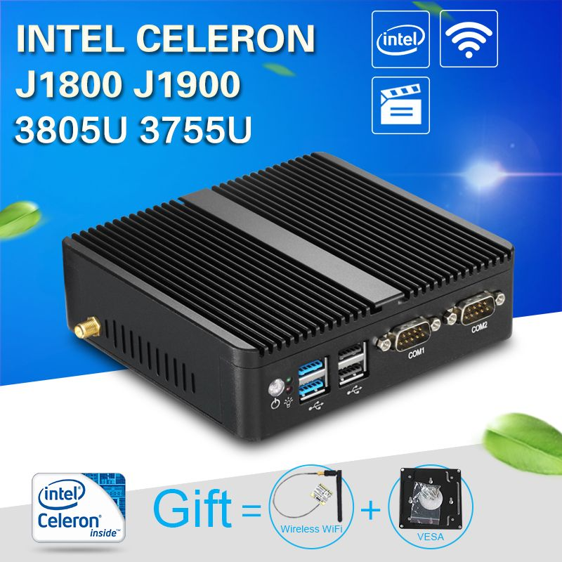 XCY Fanless Mini PC Windows 10 4GB RAM Intel J1800 J1900 3805U 3755U HTPC Industrial PC Nettop 2 LAN 2 RS232 HDMI VGA WiFi