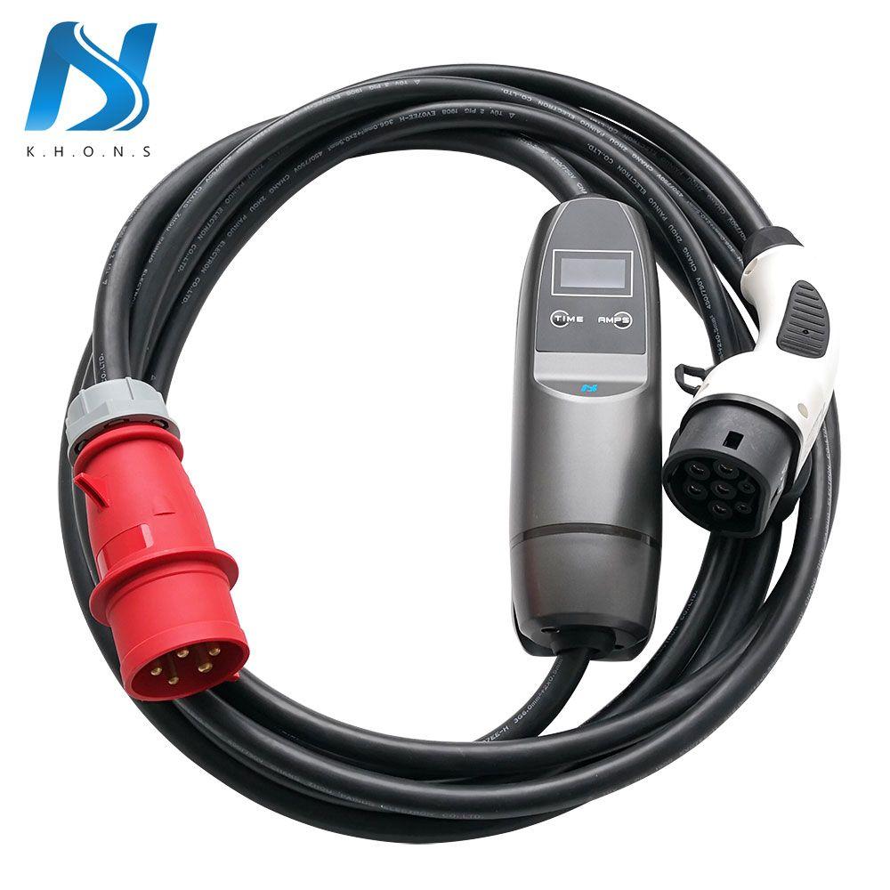 Khons 22KW 3 Phase EVSE Typ 2 Elektrische Auto Fahrzeug EV Ladegerät Mit Rot CEE Stecker 32A Einstellbare 16ft EV kabel Lade Stecker