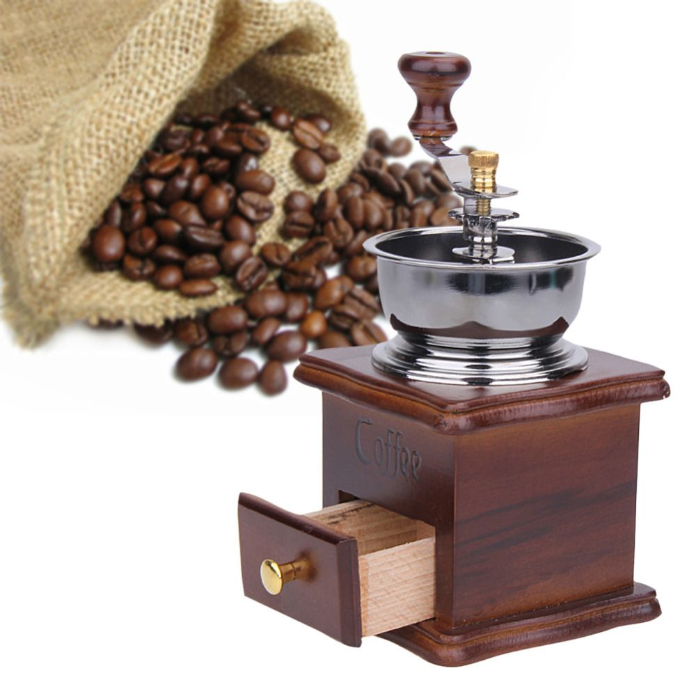 Manual Coffee Bean Grinder Retro Wooden Design Mill Maker Grinders Retro Coffee Spice Mini Burr Mill With High-quality Ceramic M