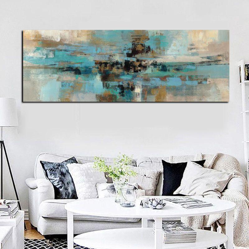 Bleu clair Toile Peinture Affiches et Gravures Moderne À L'huile Abstraite Peinture D'art de Mur Chambre Salon Cuadros Decoracion Salon