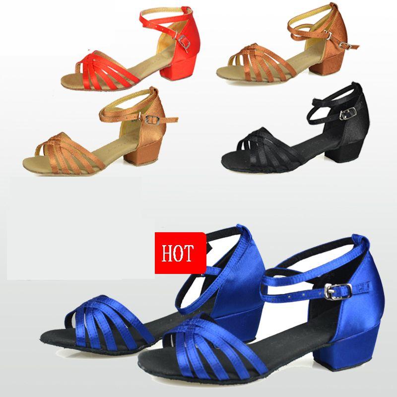 Chaussures de danse cadeau de noël salle de bal chaussures de danse latine enfants chaussures Satin daim oxfords faible résistance à l'usure bas prix en gros chaud