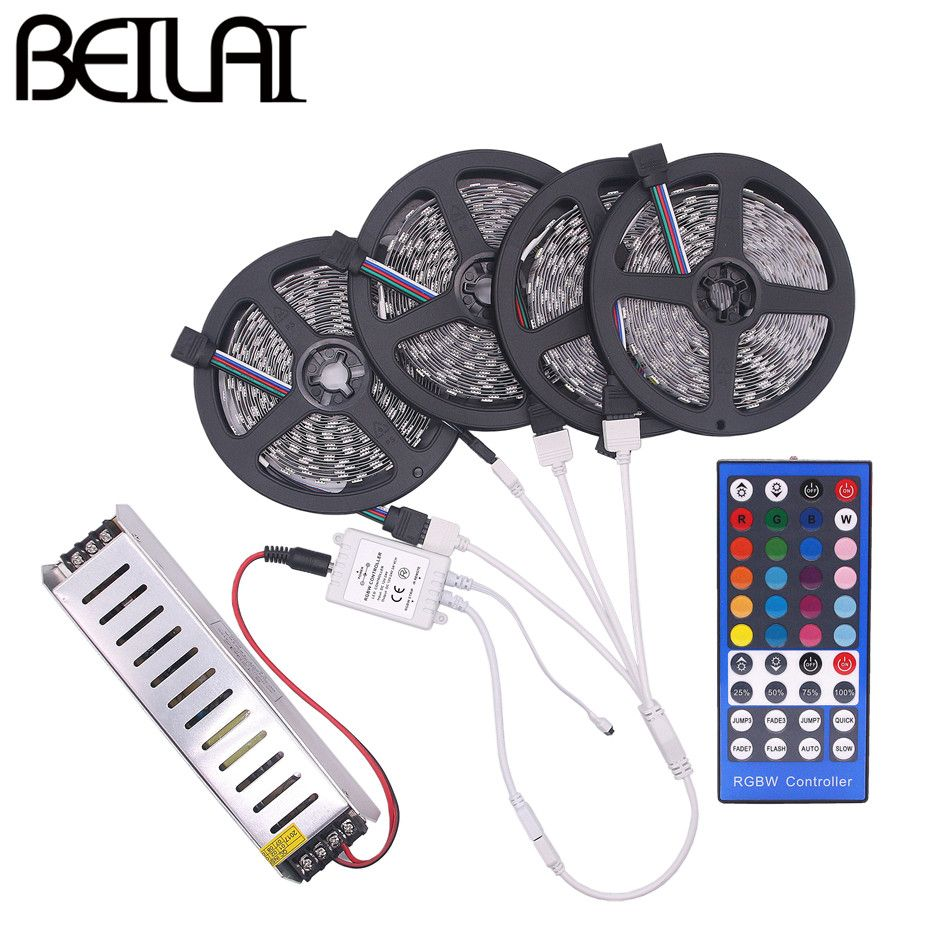 BEILAI SMD 5050 RGBW RGBWW RGB LED Strip Waterproof 5M 10M 15M 20M DC 12V LED Light Strips 60led/m add 40K 44K Remote and Power