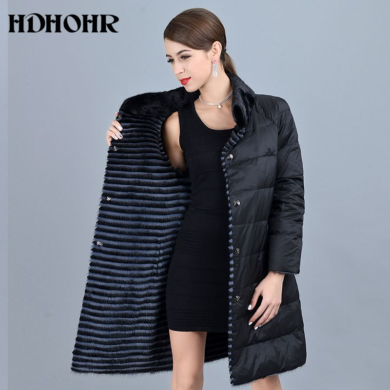 HDHOHR 2019 Neue frauen Real Nerz Mantel Mit Unten Double Side Tragen Jacke Warme Echtem Leder Streifen Lange jackes Für Weibliche
