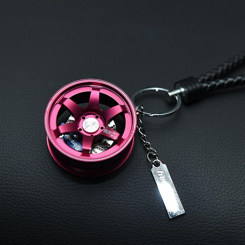 TOYIKIE Big TE37 Style Wheel Rim Rear View Mirrow Pendent Keychain Keyring  Key Ring Keyfob Aluminum Brake Disc BV Leather
