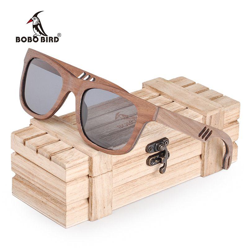 BOBO BIRD Fashionable Men Sunglasses Women Wooden Sun Glasses Bamboo Polaroid Ladies Hollow Arms Eyewear Summer Wood box