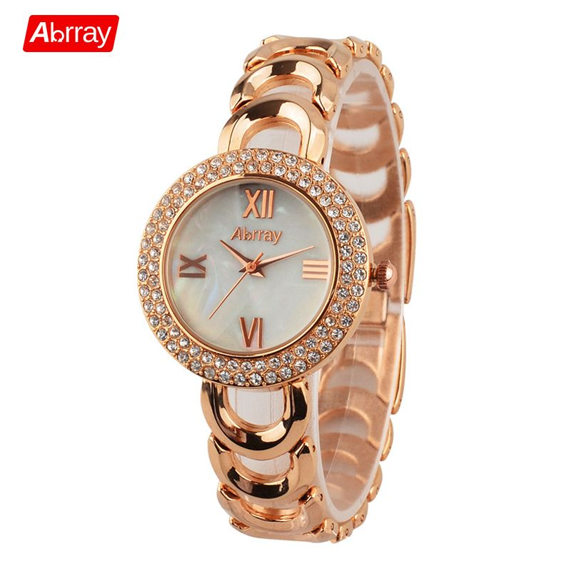 Abrray Fashion Rose Gold Color <font><b>Rhinestones</b></font> Shell Face Roman Numerals Female Watch Quartz Wristwatches with Hollow Chain