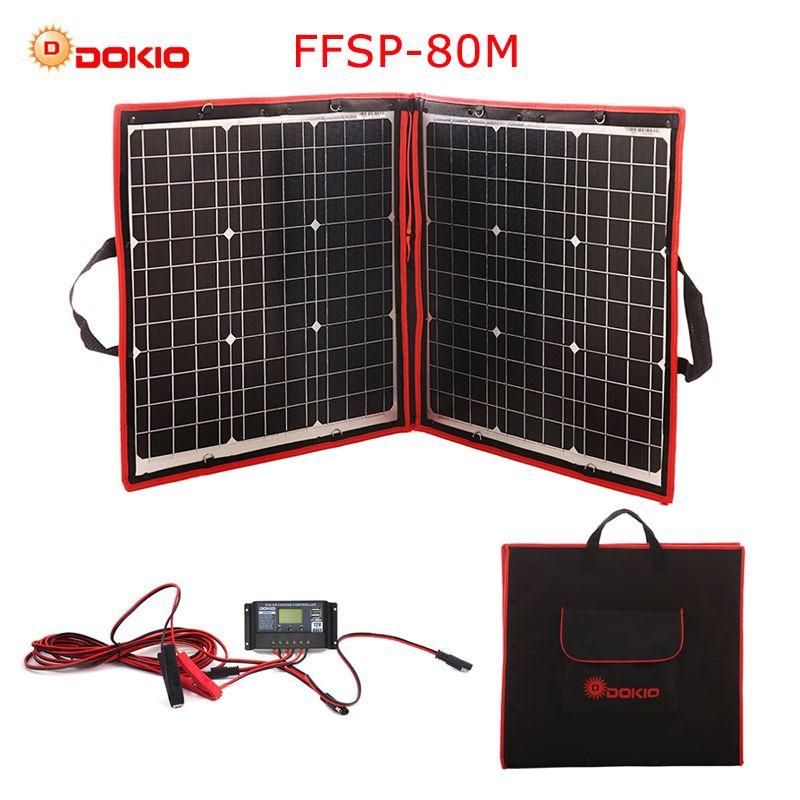 Dokio 50 watt 60 watt 70 watt 80 watt (40x2 stücke) 18 v Flexible Schwarz Solar Panels China Faltbare + 12/24 v Volt Controller Watt Panels Solar