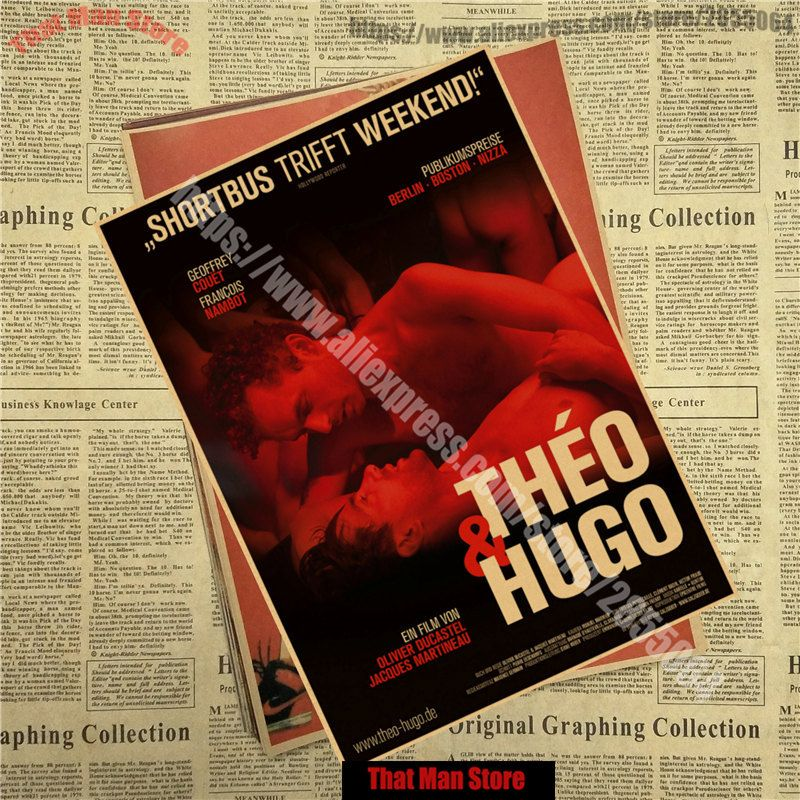 Theo and Hugo French core Classic Movie Kraft Paper Poster Bar Cafe Living Room Dining room Wall Decorative Paintings
