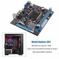 H61 Ordinateur De Bureau Carte Mère Carte Mère 1155 Broches CPU Mise À Jour de L'interface USB2.0 DDR3 1600/1333