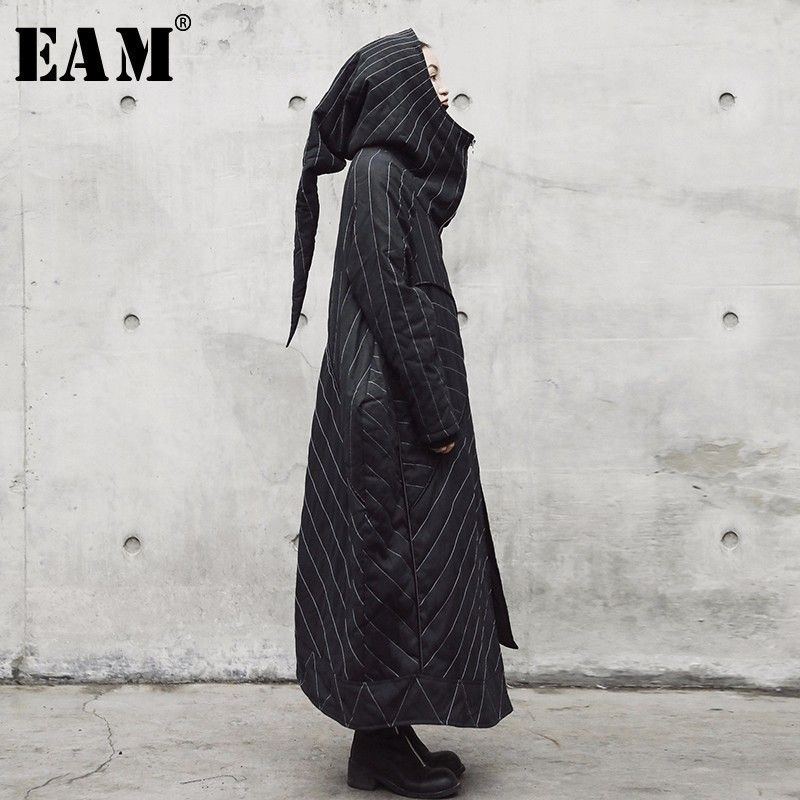 [EAM] 2018 New Autumn Winter Hooded Long Sleeve Black Striped Loose Big Size Solid Color Jacket Women Coat Fashion Tide JE01401