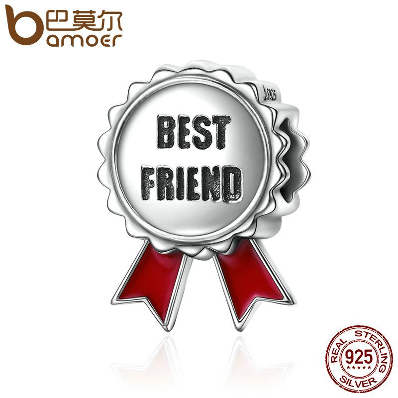 BAMOER Popular Genuine 925 Sterling Silver Friendship Stamp Best Friend Flower Gift Beads fit Charm Bracelets Jewelry SCC174