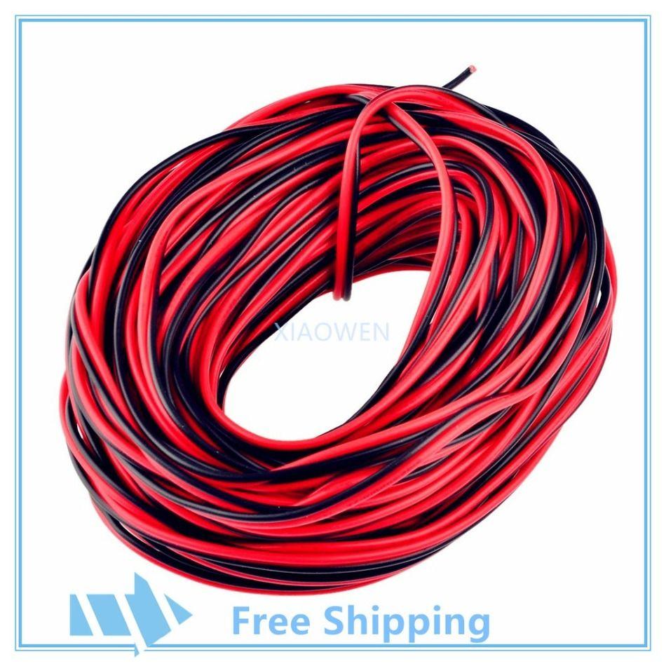 10 m 20 m 50 m 100 m 22AWG 2 broches, câble noir rouge, fil isolé PVC, câble électrique, câble LED, bricolage Connect