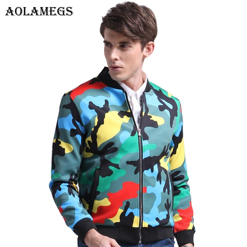 Aolamegs Men's Jacket Color Camouflage Military Bomber Jacket Men Hip Hop Fashion Casual Outwear Men Coat Bomb Baseball Jackets