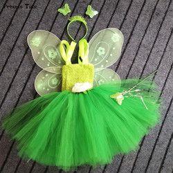 1 Set Cosplay Tinkerbell Peri Sihir Tutu Dress Up Putri Gadis Pesta Ulang Tahun Gaun Hijau Anak-anak Halloween Kostum dengan Sayap