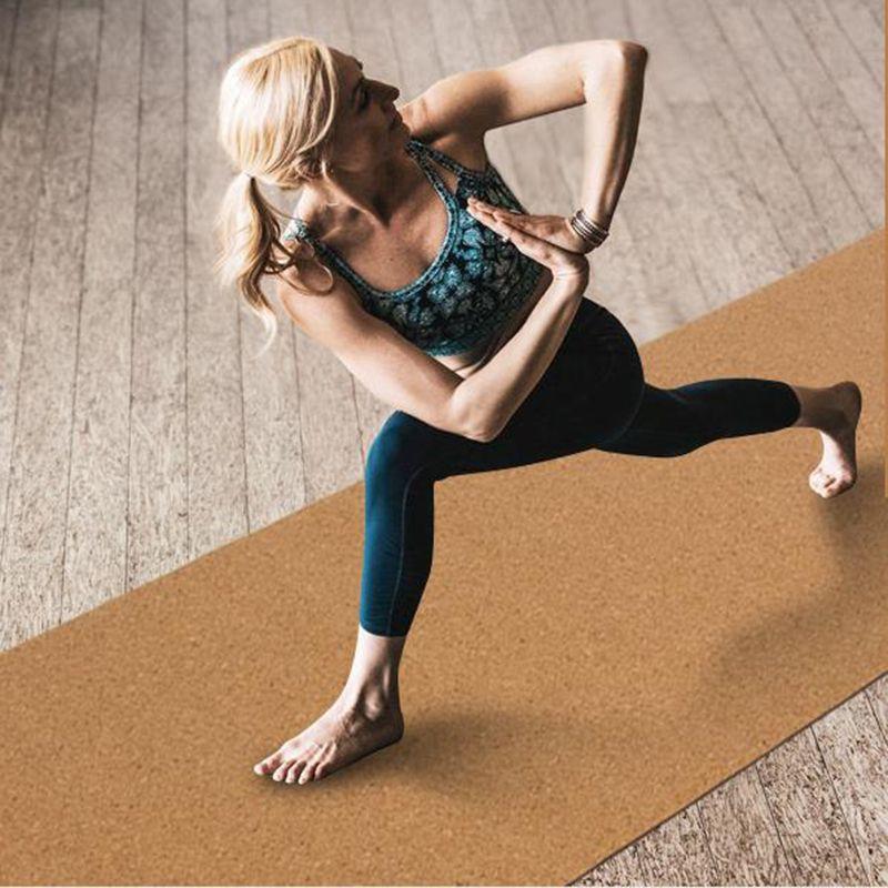 5mm cork natural rubber high-end yoga mat non-skid sucking sweat yoga mat gymnastics dance fitness mat 183cm*66cm