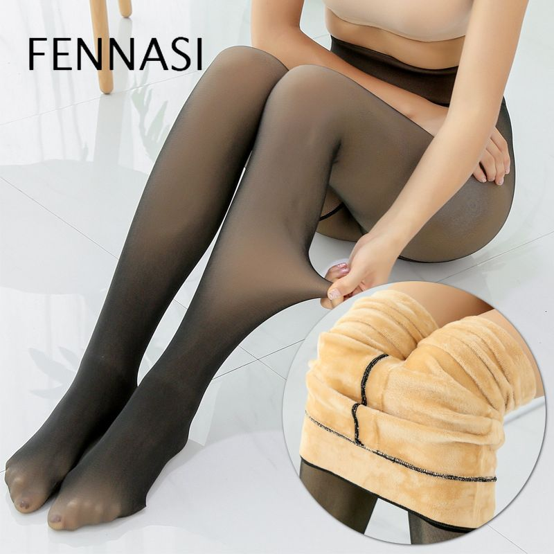 FENNASI Autumn Winter Solid Layering Warm Tights Women Thick Plus Velvet Sexy Display Skin Black Pantyhose Female Fantasy Tights
