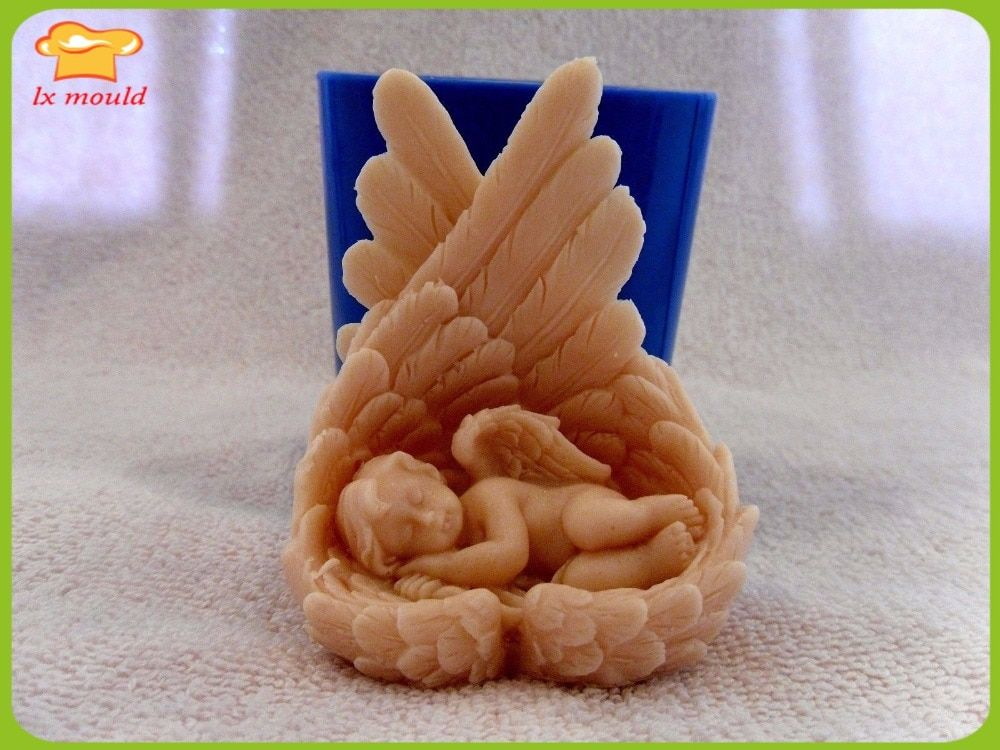 LXYY new 3 d Little angel soap and candle manufacturing mould silicone mold angel candle silicone mold angel clay mold