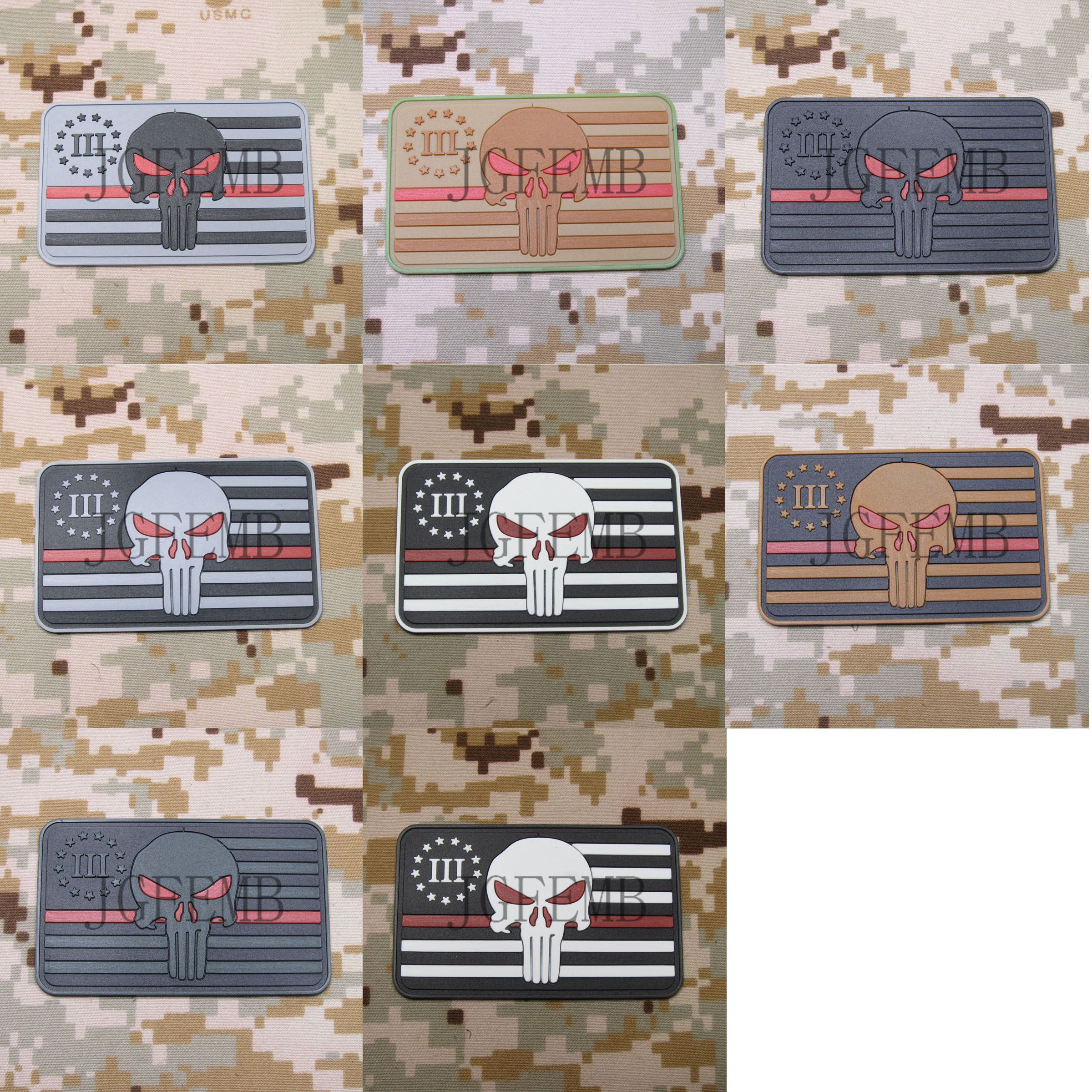 The Thin Red Line 3% III PERCENT DEFEND LIBERTY SEAL TEAM Punisher American Flag 3D PVC Patch