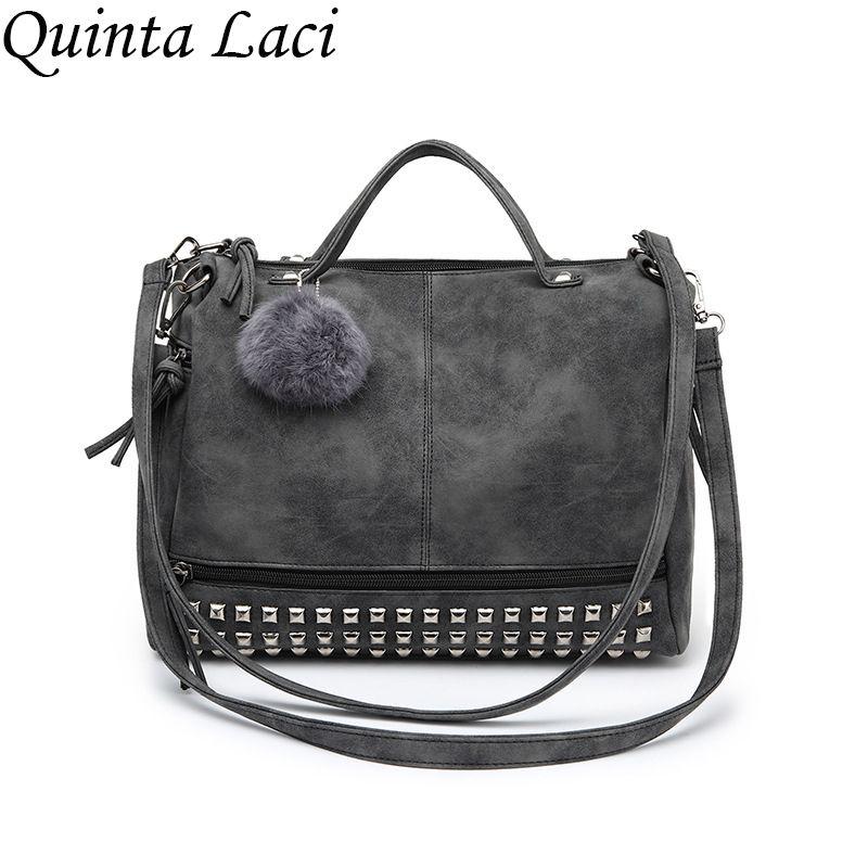 Quinta Laci Vintage Nubuck En Cuir Top-poignée Sacs Rivet Plus Grande Femmes Sacs D'épaule de Tout-Allumette Sac de Moto Messenger Sacs