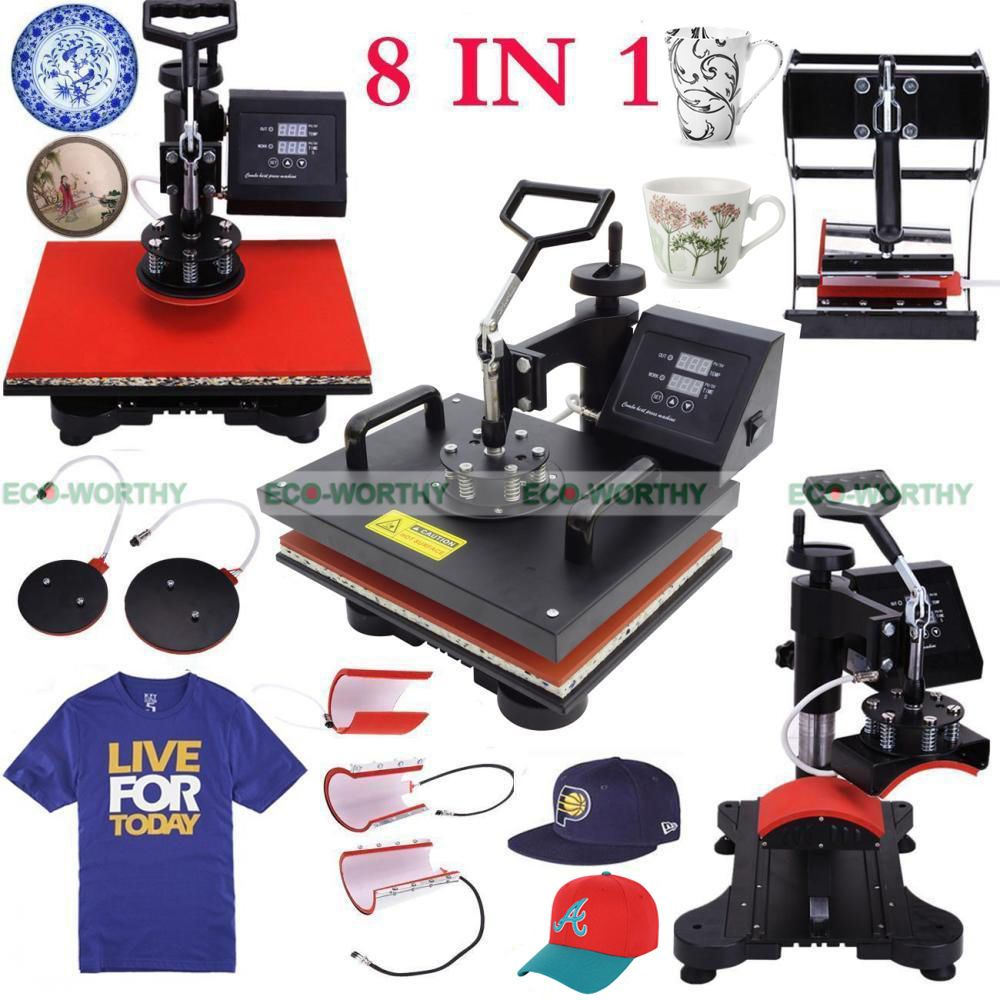 JAP USA stock 110V Combo Heat Press Machine 8 In 1 Multi Function Heat Transfer Heat press machine