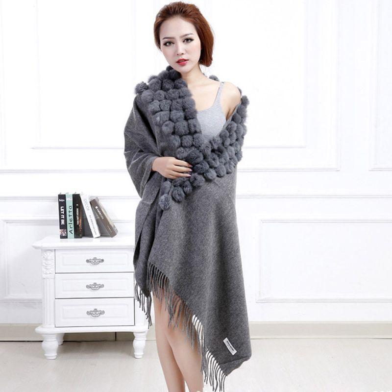 Classic Womens Woolen Shawls with Rabbit Fur Balls & Tassels Decoration Fashion Lady Solid Wool Poncho Outwear Stoles LX00019