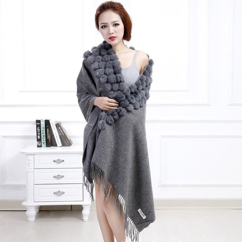 Classic Womens Woolen Shawls with Rabbit Fur Balls & Tassels Decoration Fashion Lady Solid Wool Poncho Outwear Stoles LX00019