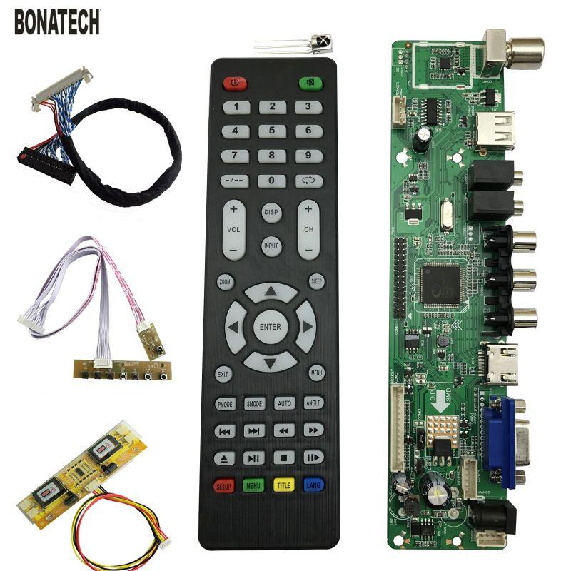 V56 Universel LCD TV Contrôleur Pilote Conseil PC/VGA/HDMI/USB Interface 4 lampe onduleur + 30pin 2ch-8bit lvds câble + 7 clavier 560284
