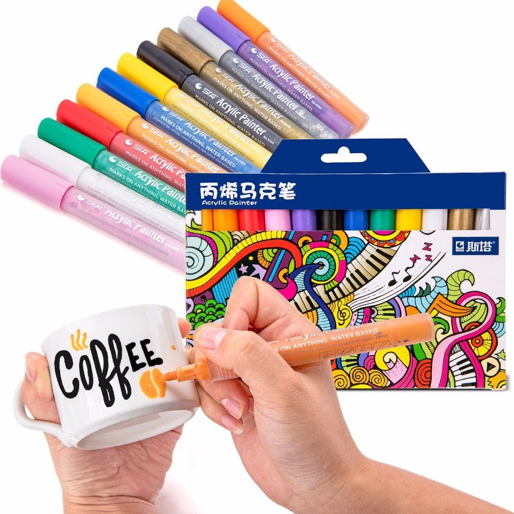 STA 12/24Color Creative Acrylic Marker Pen, Highlighter Waterproof Hand DIY Paint Marker Pen for For Art Design School Supplier