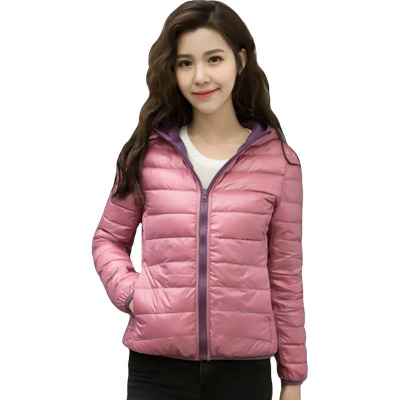 2018 Autumn Winter Women Jacket Double Side Wear Light Thin White Duck Down Female Coat Fashion Women's Outwear Ladies Jackets