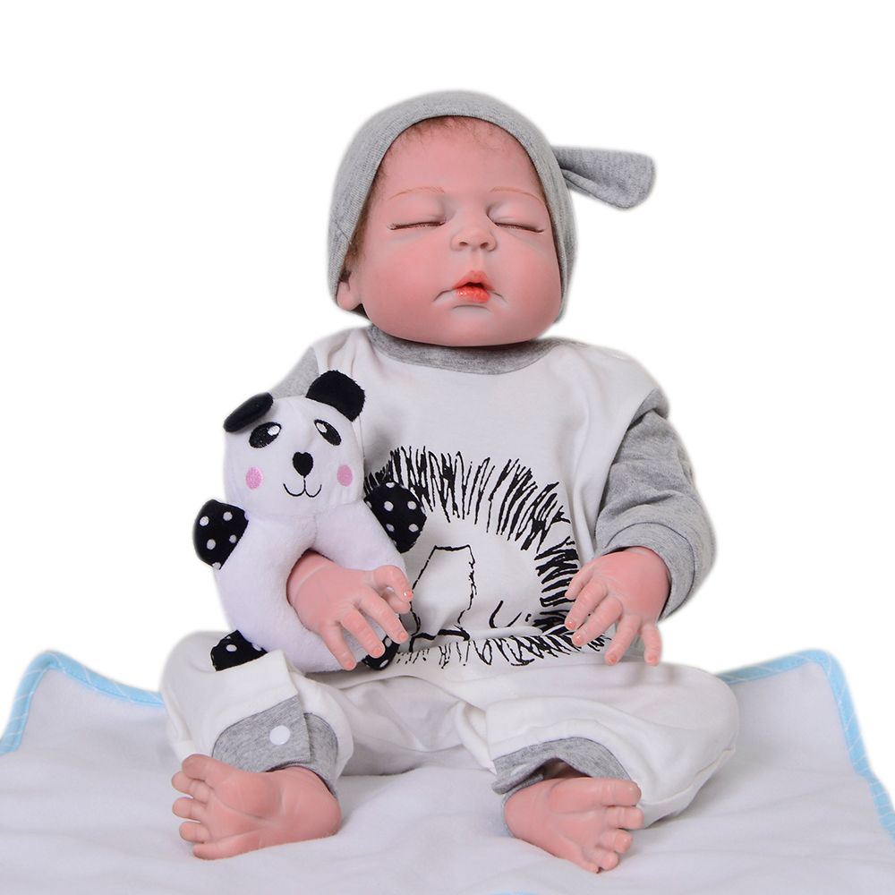 23'' Handmade Full Body Silicone Reborn Baby Doll 57cm Fashion Sleeping Bebe Reborn Menino Kid Birthday Christmas Gift Bath Toy
